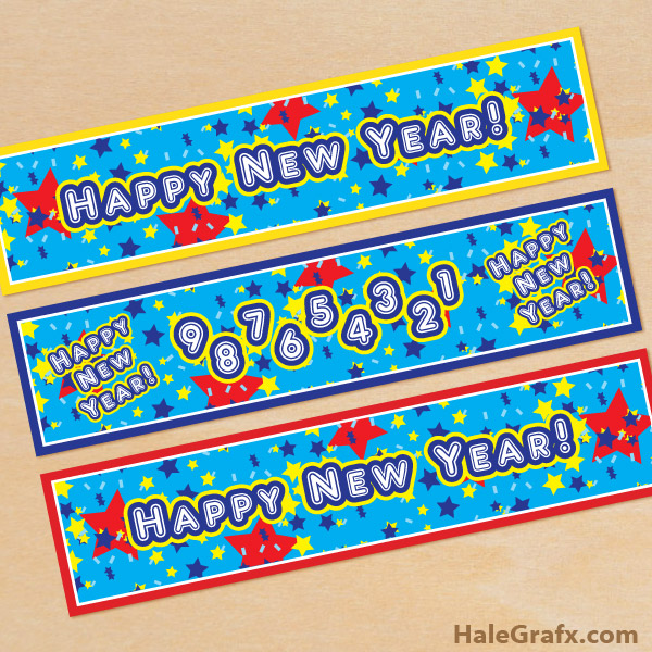 FREE Printable Happy New Year Water Bottle Labels