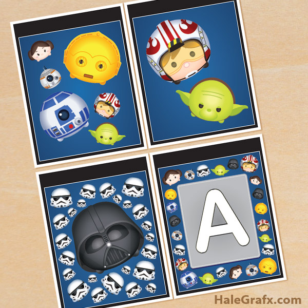 FREE Printable Star Wars Tsum Tsum Alphabet Banner Pack