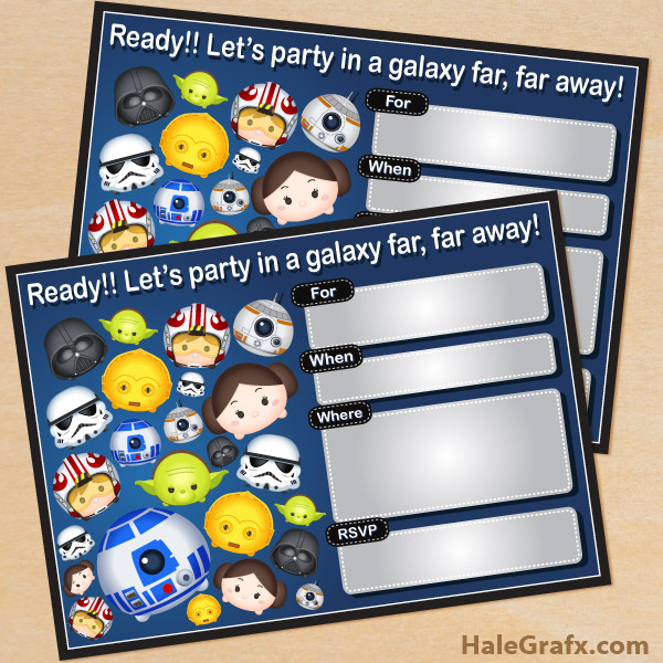 photo relating to Star Wars Invitations Free Printable identify Totally free Printable Lovely Star Wars Tsum Tsum Birthday Invitation