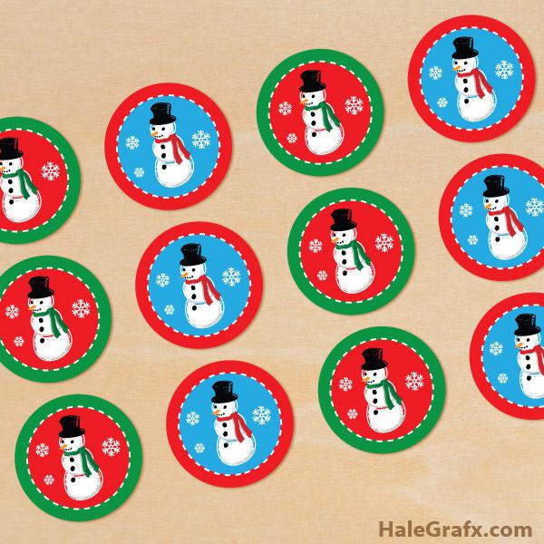 FREE Printable Christmas Snowman Cupcake Toppers