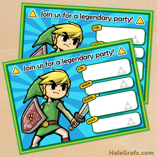 FREE Printable Legend of Zelda Birthday Invitation