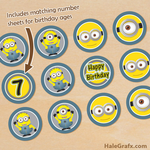 image relating to Printable Minion known as No cost Printable Minions Cupcake Toppers with Age Figures