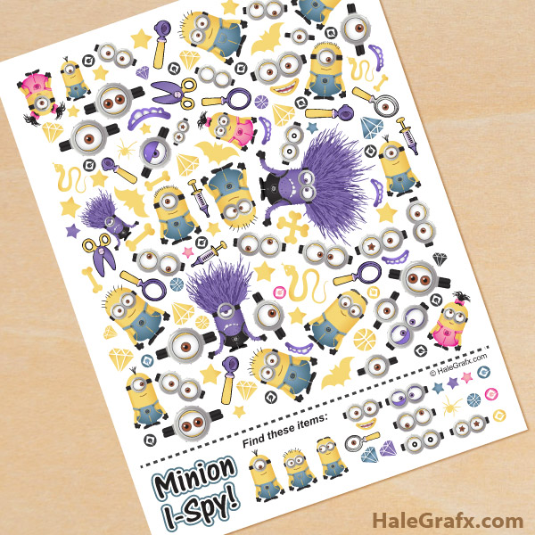 FREE Printable Minion I-Spy Sheet