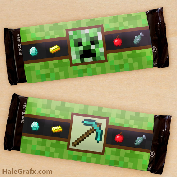FREE Printable Minecraft Candy Bar Wrappers