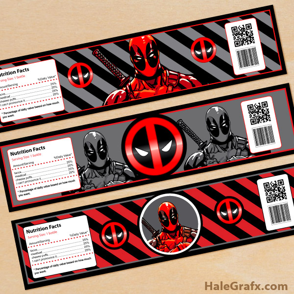 FREE Printable Deadpool Water Bottle Labels