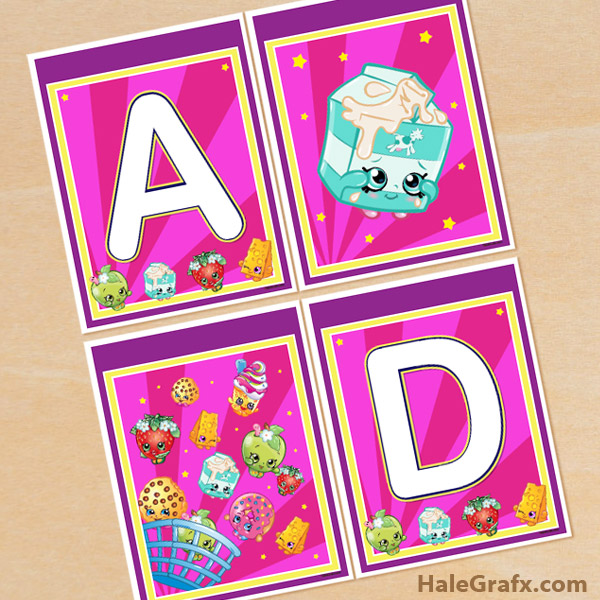 image about Shopkins Printable titled Cost-free Printable Shopkins Alphabet Banner Pack