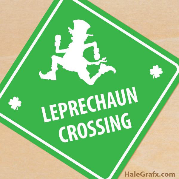picture about Printable Signage known as No cost Printable St. Patricks Working day Leprechaun Crossing Indication