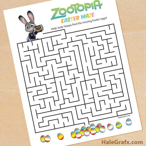 image regarding Easter Maze Printable known as Absolutely free Printable Zootopia Easter Maze