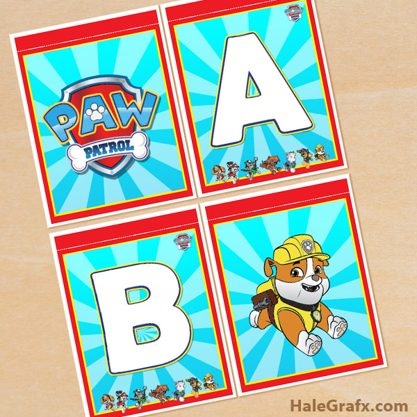 image relating to Free Printable Paw Patrol Badges identify Free of charge Printable Paw Patrol Alphabet Banner Pack