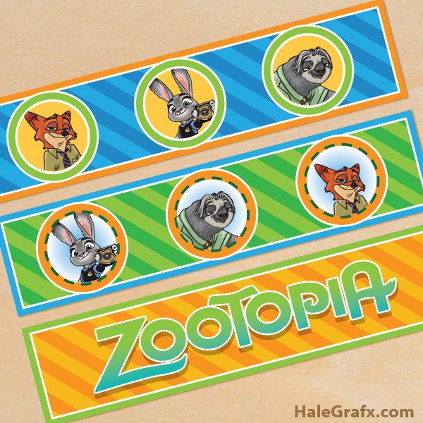 FREE Printable Zootopia Water Bottle Labels