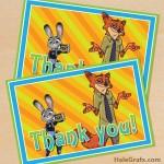 FREE Printable Zootopia Thank You Card