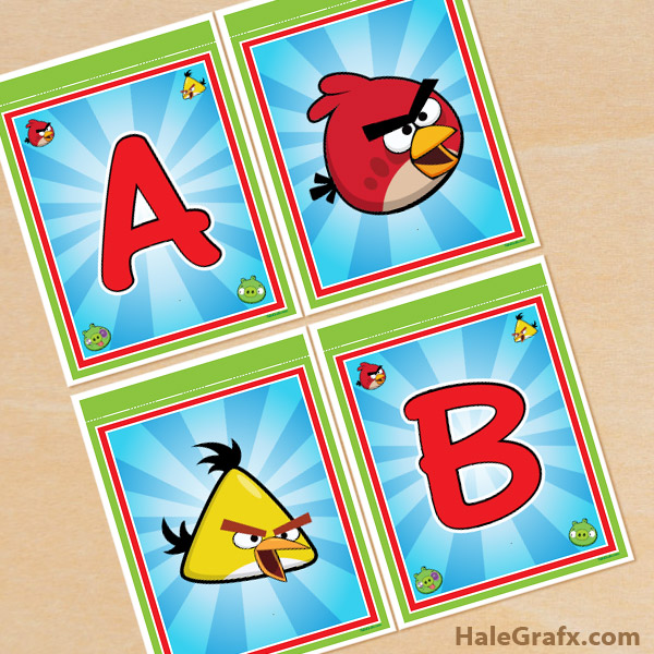 FREE Printable Angry Birds Alphabet Banner Pack