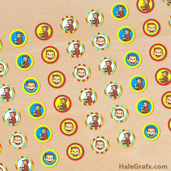 FREE Printable Curious George Hershey's Kisses Stickers