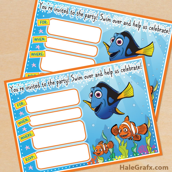 printable finding nemo birthday invitation, Birthday invitations