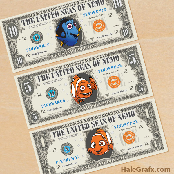 FREE Printable Finding Nemo & Finding Dory Play Money
