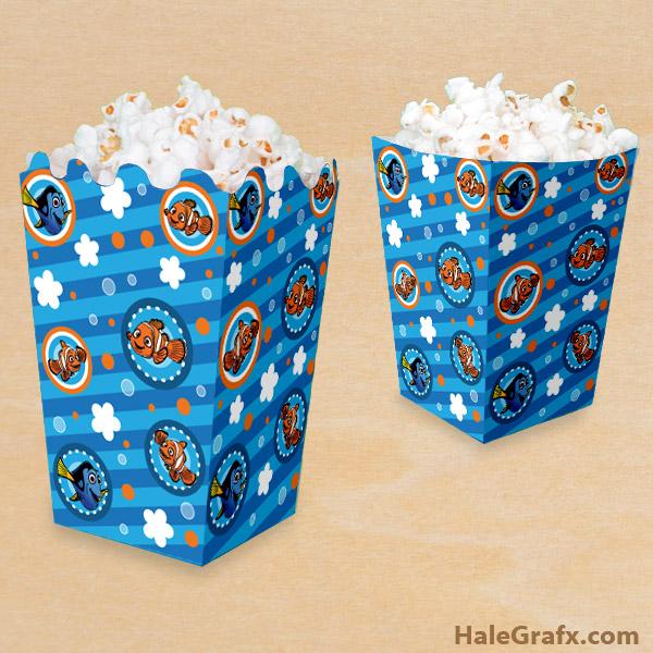 FREE Printable Finding Nemo Popcorn Box
