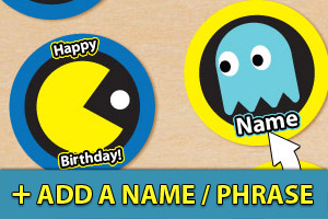 Add a name or phrase to your Pac-man cupcake toppers