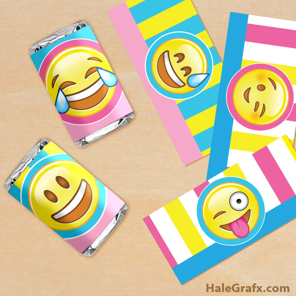 picture about Printable Candy Wrappers identified as Absolutely free Printable Emoji Mini Sweet Bar Wrappers