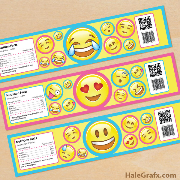 Printable Emoji Water Bottle Labels
