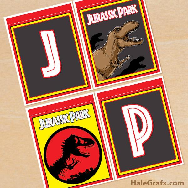 FREE Printable Jurassic Park Alphabet Banner Pack