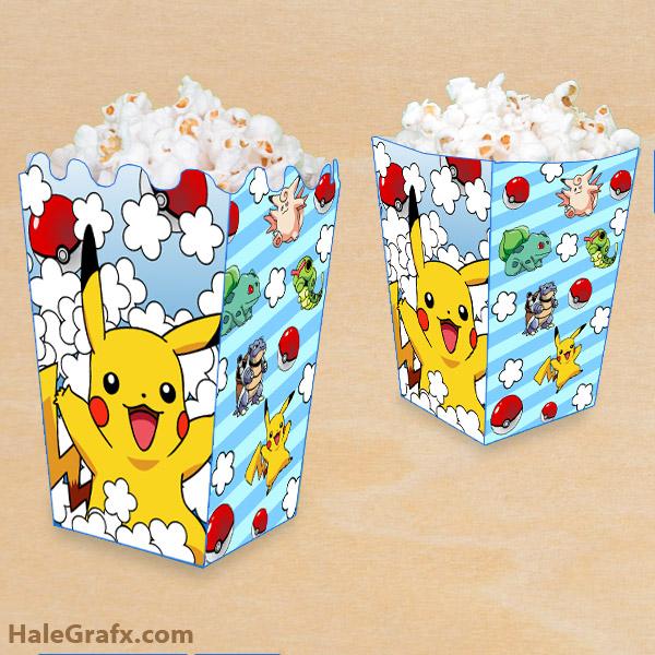 FREE Printable Pokémon Popcorn Box
