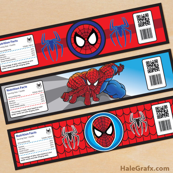 free printable spider man water bottle labels