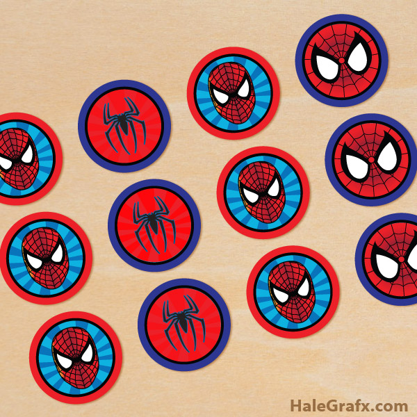 image regarding Printable Spiderman named No cost Printable Spider-person Cupcake Toppers