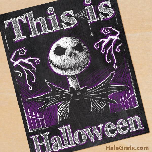 FREE Printable Halloween Jack Skellington Chalkboard Art