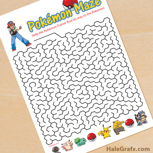 graphic relating to Pokemon Printable called Cost-free Printable Pokémon Maze
