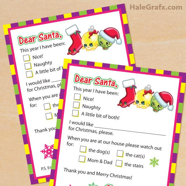 FREE Printable Shopkins Letters to Santa Claus