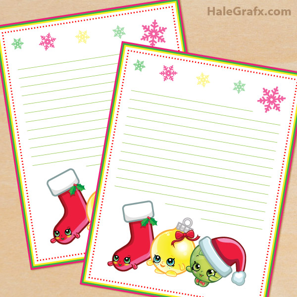 FREE Printable Shopkins themed Stationery