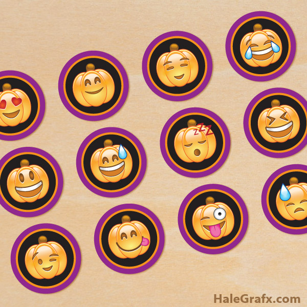 Printable Halloween Emoji Cupcake Toppers