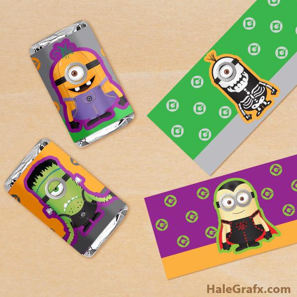 FREE Printable Halloween Minion Mini Candy Bar Wrappers