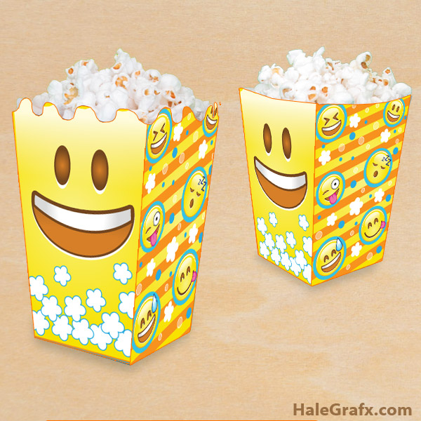 graphic about Free Printable Emojis referred to as Free of charge Printable Emoji Popcorn Box