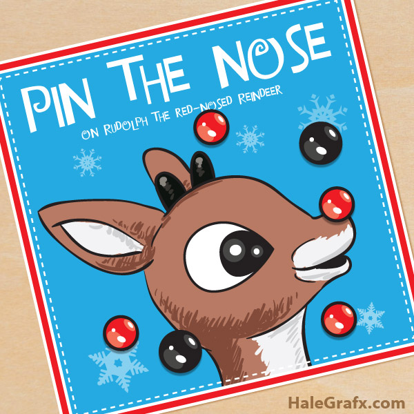 image relating to Pin the Nose on the Reindeer Printable called Totally free Printable Xmas Pin the Nose upon Rudolph