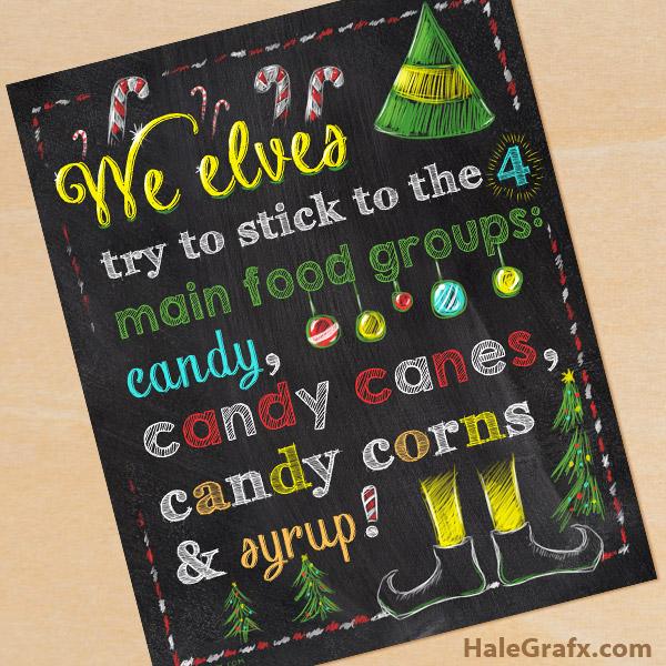 FREE Printable Christmas Elf Movie Quote Chalkboard Art