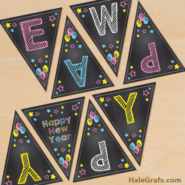 FREE Printable Chalk Happy New Year Banner