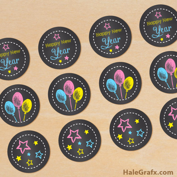 FREE Printable Chalk New Year Cupcake Toppers