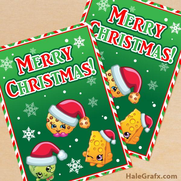 FREE Printable Christmas Shopkins Greeting Card