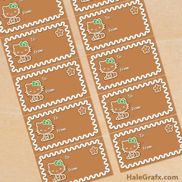 FREE Printable Christmas Hello Kitty Gingerbread Gift Tags