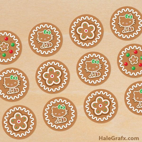 FREE Printable Christmas Hello Kitty Gingerbread Cupcake Toppers