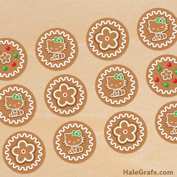 Free Printable Christmas Hello Kitty Gingerbread Cupcake