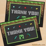 FREE Printable Minecraft Thank You Card