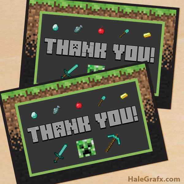 Printable Minecraft Thank You Card