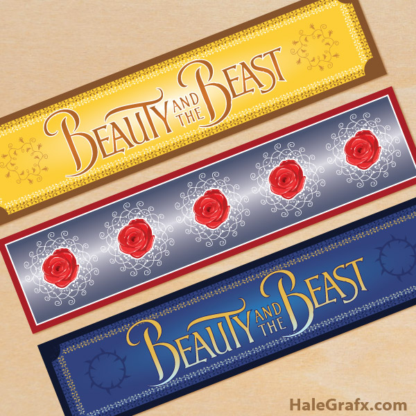 Free Printable Beauty and the Beast Water Bottle Labels