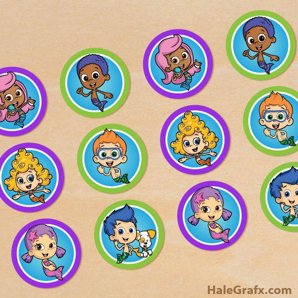 FREE Printable Bubble Guppies Cupcake Toppers