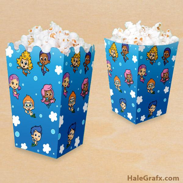FREE Printable Bubble Guppies Popcorn Box