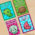 FREE Printable Cute Dinosaur Valentines
