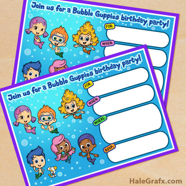 FREE Printable Bubble Guppies Movie Birthday Invitation