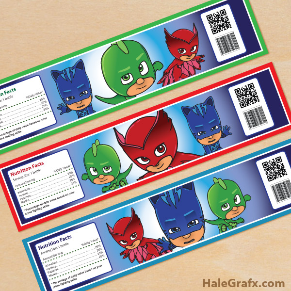 Free Printable PJ Masks Water Bottle Labels